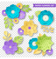 Paper flowers compositions transparent set vector