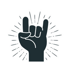 rock symbol hand gesture cool party respect vector image