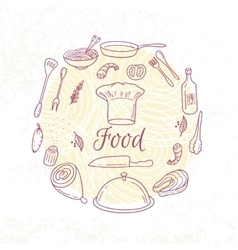 Round card with outline food icons doodle vector