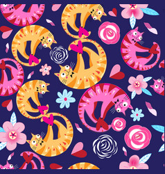 seamless floral pattern with lovers cats vector image