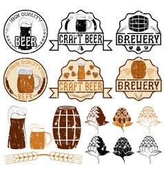 set of grunge beer emblems vector image vector image