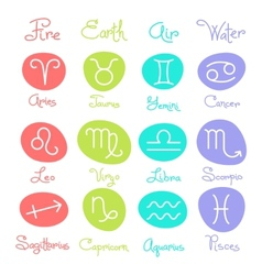Set of simple zodiac signs with captions vector image vector image