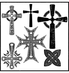 Set of six cross vector image