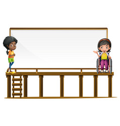 sign template with two girls vector image vector image