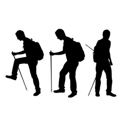 Silhouettes of people trekking vector