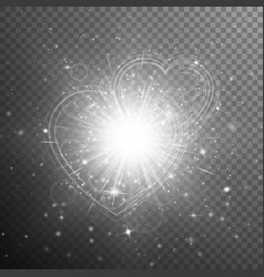 silver hearts bokeh vector image vector image