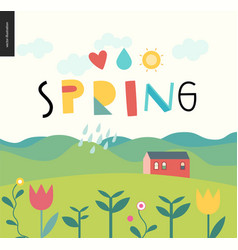 Spring lettering and landcape vector