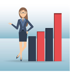 Succesful business woman showing business growing vector