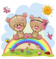 two teddy bears are sitting on the rainbow vector image vector image