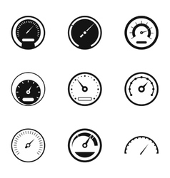 Types of speedometers icons set simple style vector