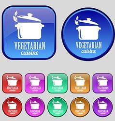 vegetarian cuisine icon sign A set of twelve vector image vector image
