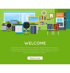 Welcome in Office Concept Website Template vector image vector image