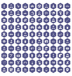 100 human resources icons hexagon purple vector