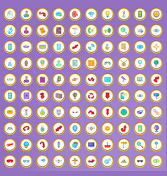 100 search icons set in cartoon style vector