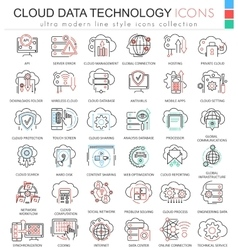 Cloud data technology database ultra modern vector