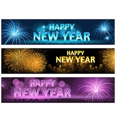 Happy new year banner set vector
