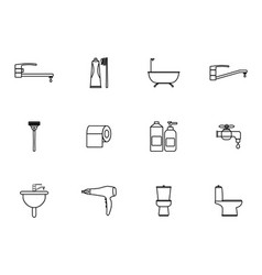 12 outline bathroom icons set vector
