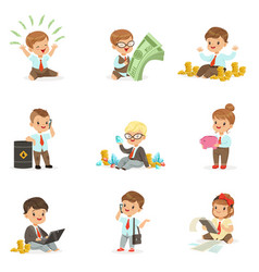 Kids in financial business collection of cute boys vector