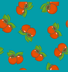 seamless pattern persimmon on azure background vector image