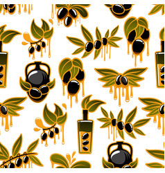 Olive oil and fruit branch seamless pattern vector