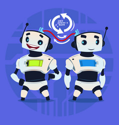 cute robot update happy smiling modern artificial vector image