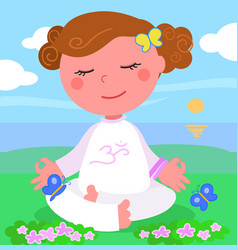 girl in meditaion pose vector image