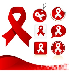 Red awareness ribbons kit vector