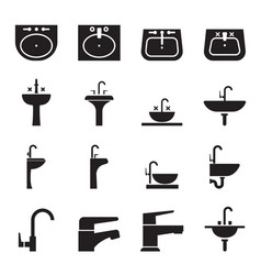 Silhouette sink wash basin faucet icon set vector