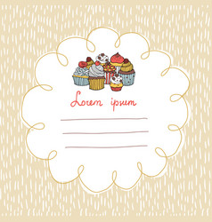 32 card with cupcakes on a background with hand vector image vector image