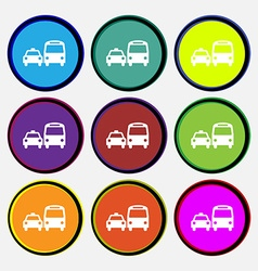 Taxi icon sign nine multi colored round buttons vector