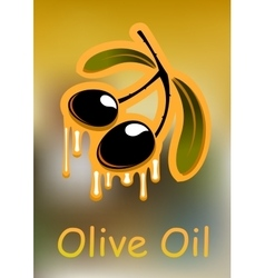 Olive fruits with oil drops vector