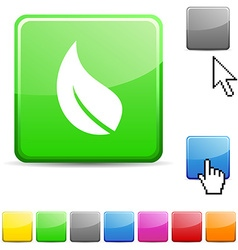 Ecology glossy button vector
