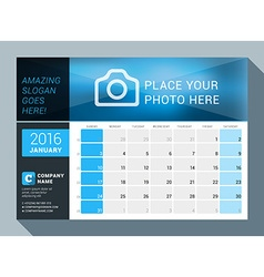 January 2016 design print calendar template for vector