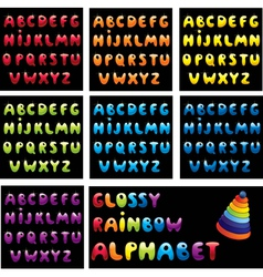 Glossy rainbow alphabet vector image