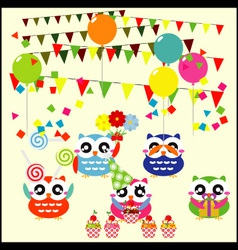 Birthday party elements with cute owls vector