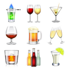 Alcoholic icons set vector image vector image