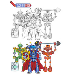 book coloring bright robots aliens athletes super vector image