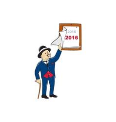 Bowler hat man peeling 2016 calendar vector