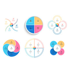 Business infographics pie charts with 4 steps vector