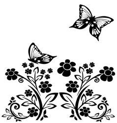 Butterflies and flowers 15 vector