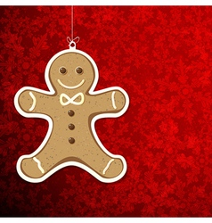 Christmas background with gingerbread man vector image