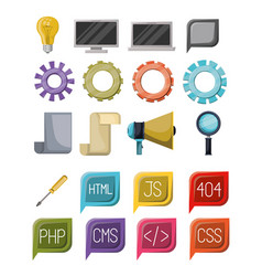 Colorful set of icons elements of web programming vector