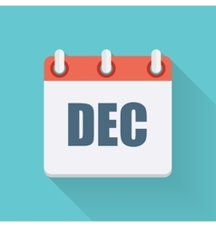 December Dates Flat Icon with Long Shadow vector image