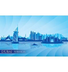 Dubai Jumeirah skyline silhouette background vector image