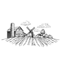 Farm barn and windmill on agricultural field on vector
