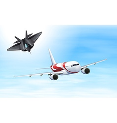 Fighting jet and airplane flying in sky vector