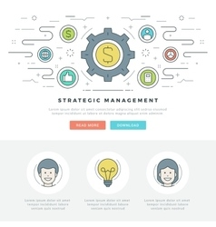 Flat line Strategic Management Business Concept vector image vector image