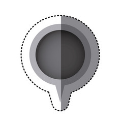 Grayscale sticker of circular speech with tail vector