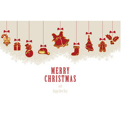 hanging christmas elements vector image vector image