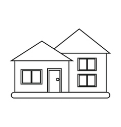 House suburban architecture green grass outline vector